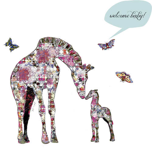 Giraffe Mama and Baby - Baby Card