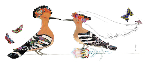 Hoopoe Wedding Protea-Wedding Card