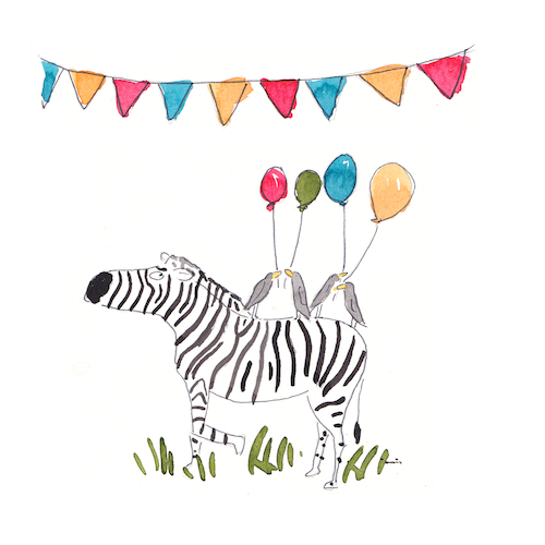 Zebra and Balloons-Celebrate Card